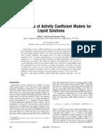 characteristics of activity models for liquid solutions