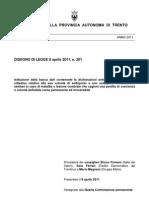 Disegno di legge sul testamento biologico, Consiglio provinciale di Trento