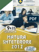 Testi i Matures 2012 (Drejtimi i Pergjithshem. Natyroror , Shoqeror) Grupi B