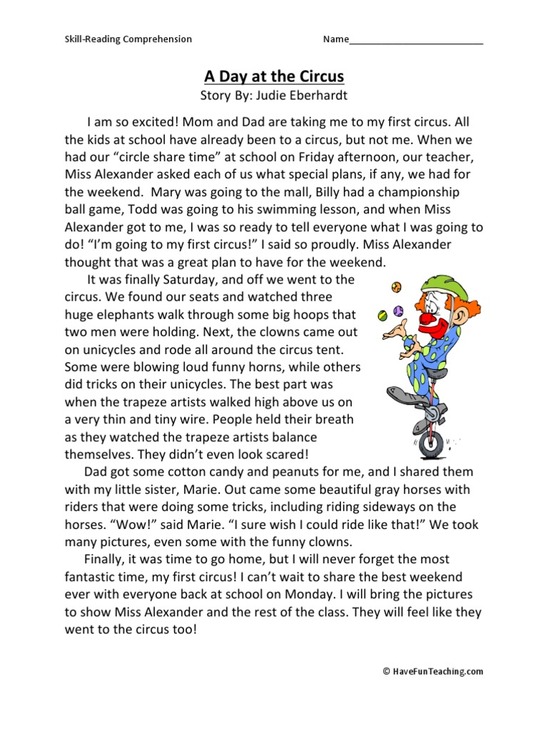 A Day At The Circus Third Grade Reading Comprehension Worksheet