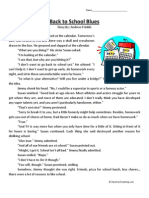 Back to School Blues Third Grade Reading Comprehension Worksheet
