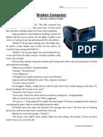 Broken Computer Third Grade Reading Comprehension Worksheet