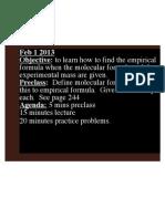 Calculations involving empirical formulas and molecular formulas