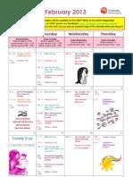 Jessie's Centre February 2013 calendar
