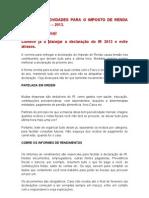 Informação imposto de renda 2013