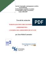 Marginalisation Chez Les Populations Amerindiennes Jean Michel Lemonnier
