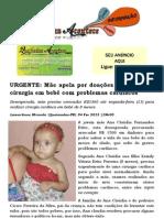URGENTE Mãe apela por doações para realizar cirurgia em bebê com problemas cardíacos