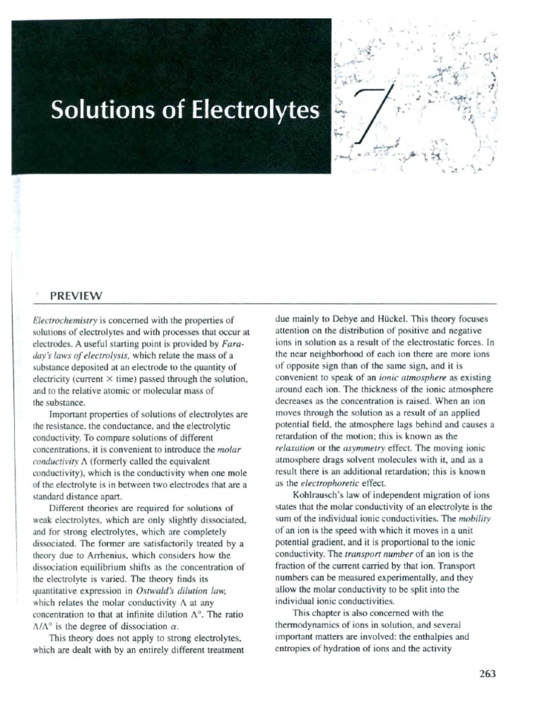 Laidler's Physical Chemistry Chap 7 | Dissociation (Chemistry) | Electrolyte