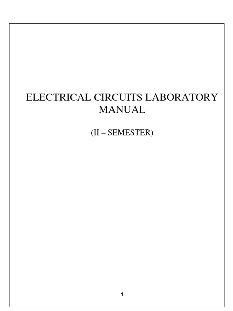 Electrical Circuit Lab Manual | Series And Parallel Circuits | Electrical  Network