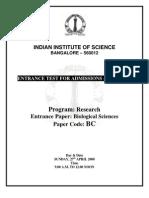IIsc Biological Sciences
