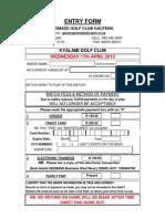 Entry Form - April 2013
