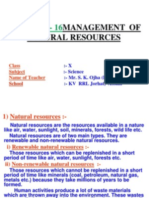MANAGEMENT OF NATURAL RESOURCES ppt pptx   Forests   Dam