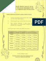 Jadual Waktu Solat Kuala Lumpur & Putrajaya 2013