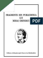 FRAGMENTE DIN PUBLICISTICA LUI MIHAI EMINESCU