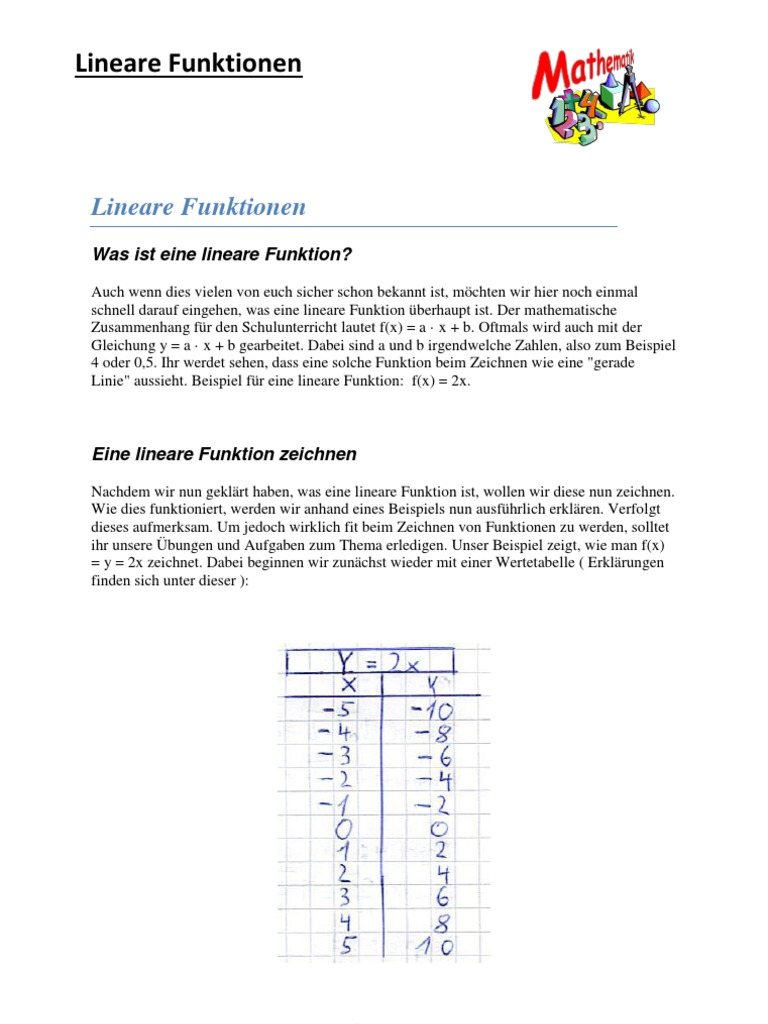 Mathe (Lineare Funktion)
