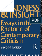 85277701 Paul de Man Blindness and Insight Essays in the Rhetoric of Contemporary Criticism