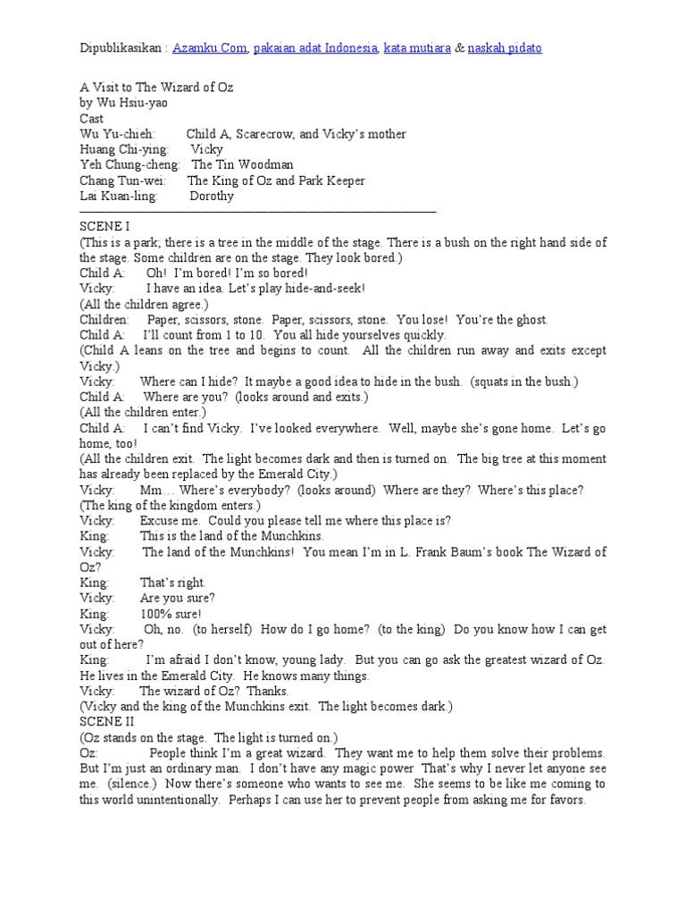 Contoh Naskah Drama Bahasa Inggris 5 Orang Pemain Dorothy Gale The Wonderful Wizard Of Oz