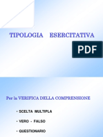 TIPOLOGIA ESERCIZI