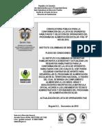 Pliego de Condiciones Definitivo Cp003 de 2012