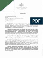 Pennsylvania Gov. Tom Corbett's letter to Health and Human Services Secretary Kathleen Sebelius