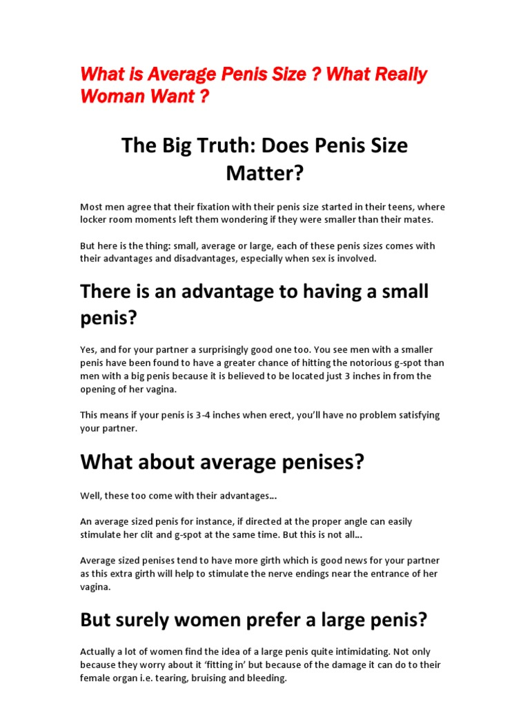What do women consider a small penis