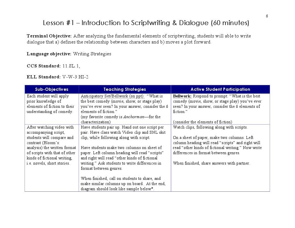 lesson1 comedyscriptanddialogue | Screenplay | Screenwriting