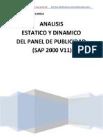 Analisis de Panel Publicitario (Sap2000 v11)