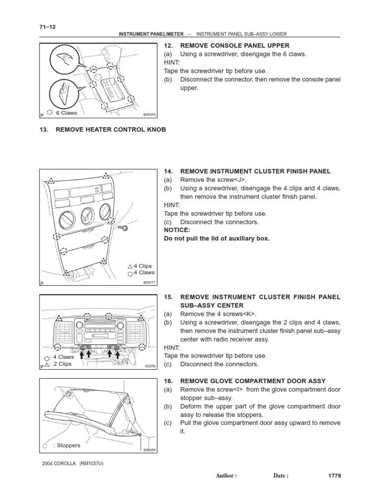 Toyota Corolla 2004 Manual Free Download