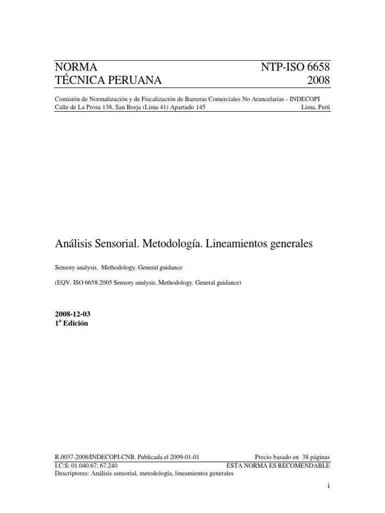 NTP-ISO 6658 2008 - ANÁLISIS SENSORIAL. Metodología. Lineamientos ...
