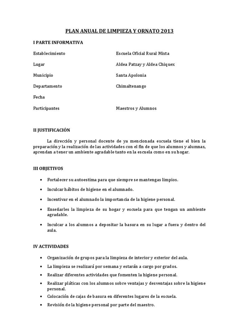 Plan anual de limpieza y ornato 2013 - Plan de limpieza ...