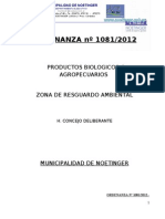 ORDENANZA 1081-2012 AGROQUIMICOS