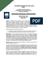 Programa Curso Instituicoes Nacionais Internacionais Timor