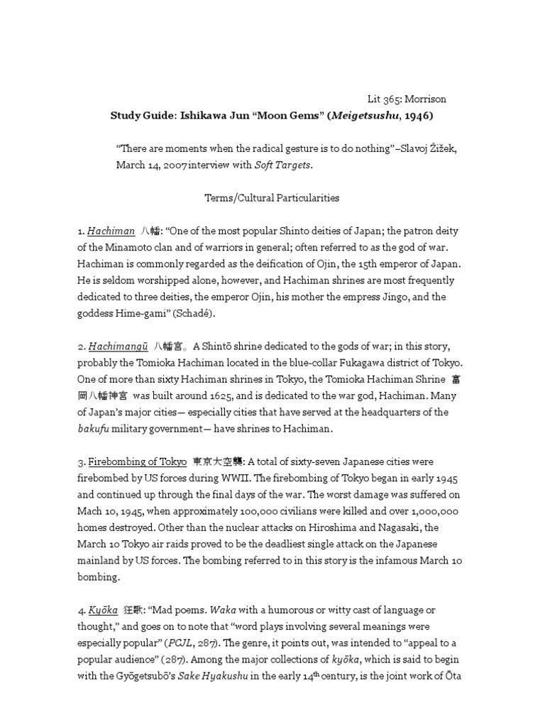"Study Guide: Ishikawa Jun ""Moon Gems"" (Meigetsushu, 1946) | Shinto"