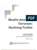 Muslim-American        Terrorism: Declining Further; paper by Triangle Center on Terrorism and Homeland Security.  Published 1st February 2013.