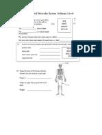 Skeletal Muscular System Ordinary Level