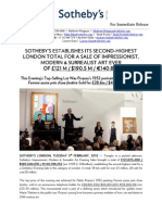 £121m/ $190m Achieved at Sotheby's - 2nd Highest Total for an Impressionist & Modern Art Sale at Sotheby's London