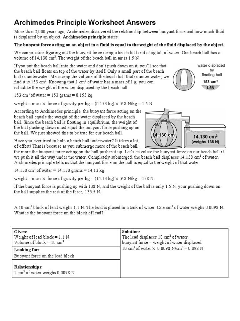 worksheet Buoyancy Worksheet archimedes worksheet buoyancy mass