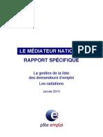 Médiateur Pôle emploi Rapport Radiations 01-2013-1