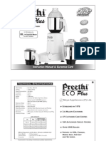 Preethi ECO PLUS mixie Manual