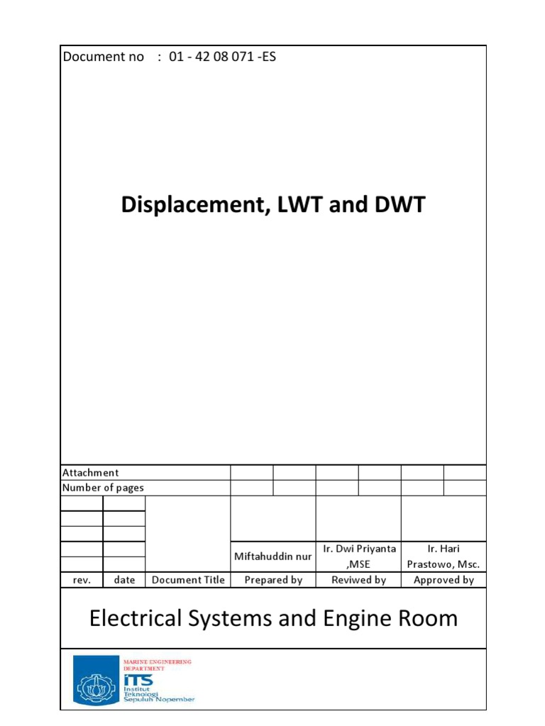 calculation  displacement lwt  dwt