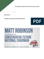 Matt Robinson Conservative Future Chairman manifesto 2013