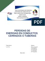 PERDIDAS DE ENERGÍAS EN CONDUCTOS CERRADOS O TUBERIAS