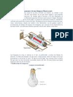 Componentes de una lámpara fluorescente