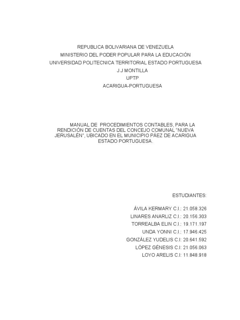 MANUAL DE PROCEDIMIENTOS CONTABLES, PARA LA RENDICIÓN DE CUENTAS DEL ...