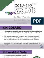 Información Internacionales XIX COLAEIQ COSTA RIC 2013