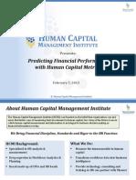 Predicting Financial Performance with Human Capital Metrics Webinar
