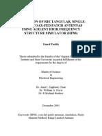 Simulation of Rectangular, Singlelayer, Coax-fed Patch Antennas