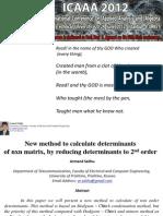 New method to calculate determinants of n x n(n geq 3) matrix, by reducing determinants to 2nd order