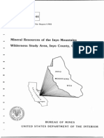 Bureau of Mines Report on Inyo Mountains Wilderness Area