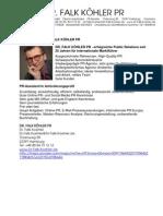 Stellenangebot / PR-Assistent/in DR. FALK KÖHLER PR